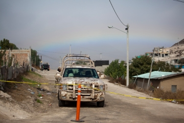 A rainbow over the crime scene at La Gallera, December 3, 2012