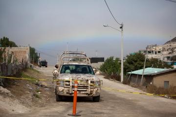 A rainbow over the crime scene at La Gallera, December 3, 2012